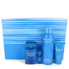 Perry Ellis Aqua par Perry Ellis Gift Set -- 3.4 oz Eau De Toilette Spray + .25 oz Mini EDT Spray + 6.8 oz Body Spray + 1.7 oz Shower Gel (Homme)