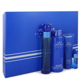 Perry Ellis 360 Very Blue par Perry Ellis Gift Set -- 3.4 oz Eau De Toilette Spray + .25 oz Mini EDT Spray + 3 oz Shower Gel + 6.8 oz Body Spray (Homme)