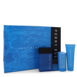 Perry Ellis Pure Blue par Perry Ellis Gift Set -- 3.4 oz Eau De Toilette Spray + 3 oz Shower Gel + 2.75 oz Deodorant Stick + .25 oz Travel EDT Spray (Men)